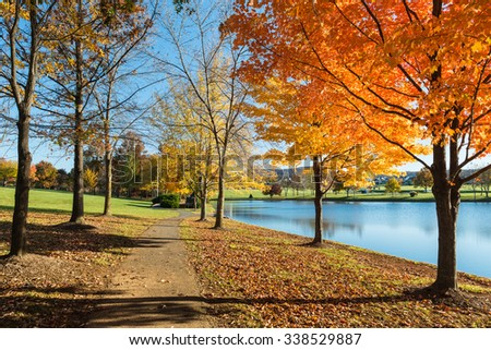 Pathway in Park with Colorful Fall Trees - stock photo
