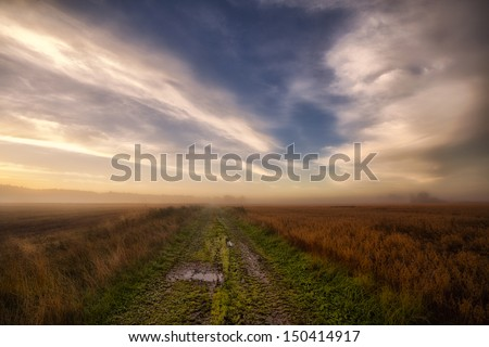 Pathway in the autumn fields. A green path leading through the harvest fields on a foggy morning as the sun rises - stock photo