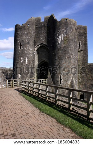 Pathway leading to one of the Caerphilly castle towers - stock photo