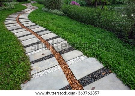 Pathway stones in the park. - stock photo