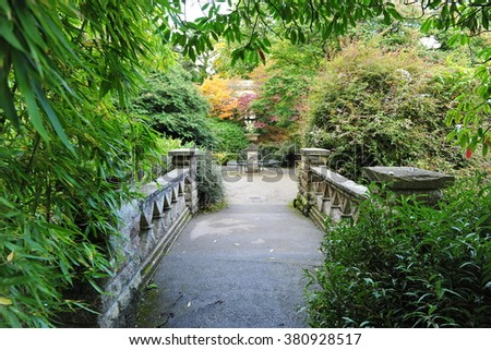 Pathway through a Lush Green Park - stock photo