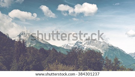 Pathway through grassy meadow with lush green trees, snow-capped mountain vista in backdrop beneath blue sky and white clouds - stock photo