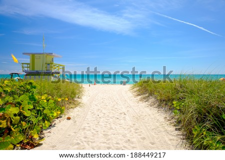 Pathway to historic Miami Beach. - stock photo