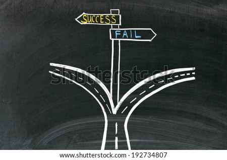 Pathway to success or failure. Drawing on the blackboard - stock photo