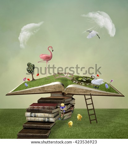 Pathway to the open book - 3D and digital painted illustration - stock photo