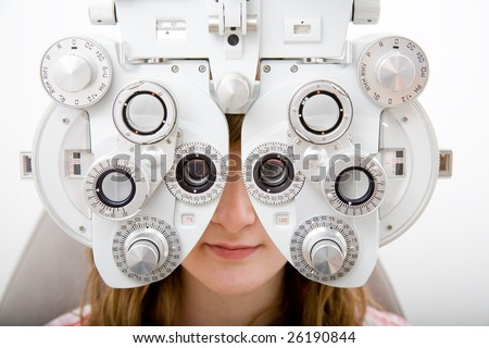 Patien in ophthalmology labor - stock photo