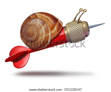 Patience to achieve goals and slow strategy business concept and planning delays metaphor with a snail shaped as a red dart as a symbol of sluggish progress and procrastination or lack of motivation. - stock photo
