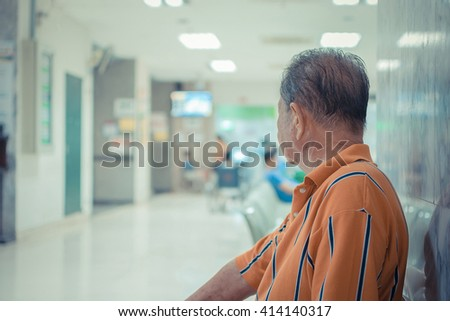 Patient elderly and many patient waiting a doctor and nurse in hospital , process in vintage style - stock photo