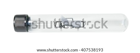Patient hospital gurney in a test tube - path included - stock photo