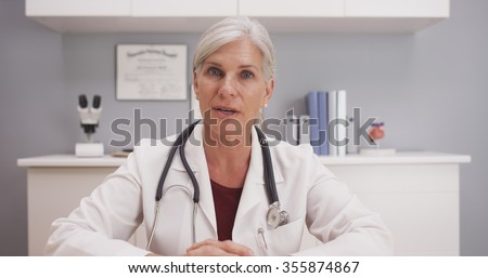 Patient point of view of doctor's consultation - stock photo