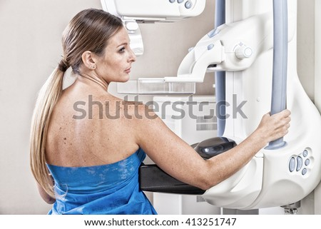 Patient undergoing scan test in hospital room. - stock photo