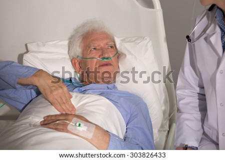Patient with lung cancer staying in hospital - stock photo
