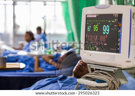 Patients monitor  in  hospital - stock photo