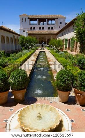 Patio de la Acequia of  Generalife, Granada, Spain - stock photo