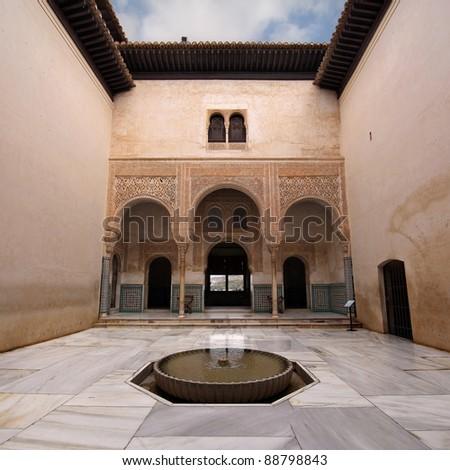 Patio del Mexuar (Court of the Council Chamber) in La Alhambra, Granada, Spain. - stock photo