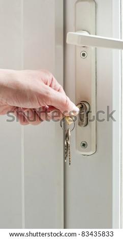 Patio door lock and keys - stock photo