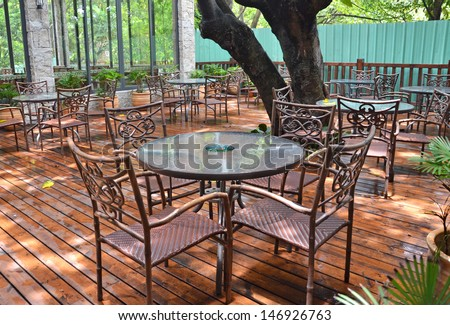 Patio garden table and chairs  - stock photo
