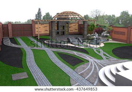 Patio living space arrangement, 3d render - stock photo