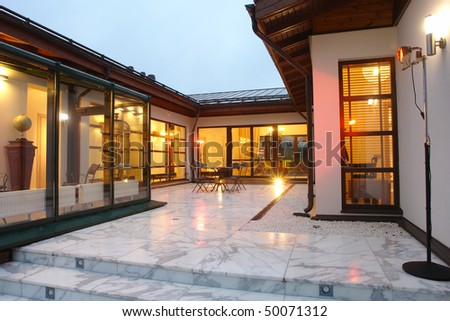 Patio of villa - stock photo