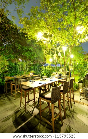 patio romantic in the evening - stock photo