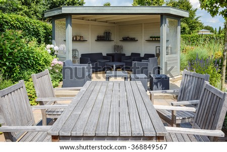 Patio the subject of architecture and landscape design in parks and gardens. - stock photo