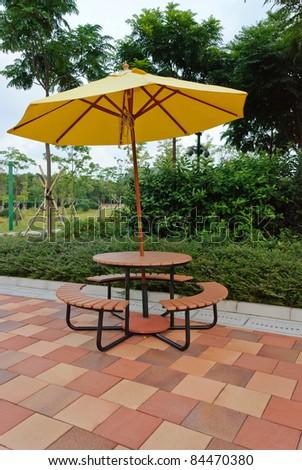 Patio umbrella with blue sky - stock photo