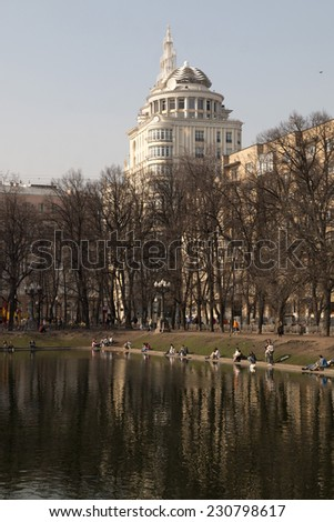 Patriarch's Ponds in the historical part of Moscow in the spring - stock photo