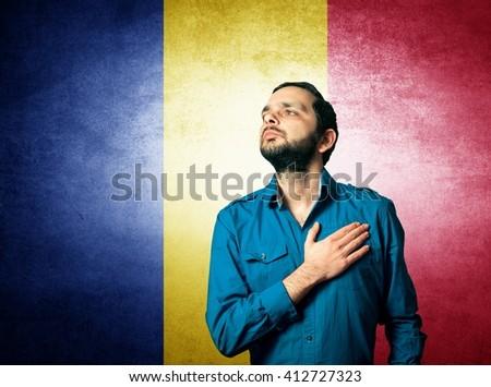 patriot man standing closeup portrait - stock photo