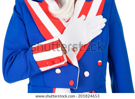 Patriot: Uncle Sam Saying The Pledge Of Allegiance - stock photo