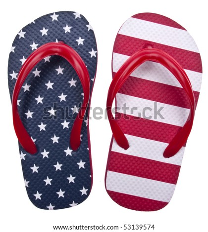 Patriotic Red White and Blue Flip Flop Sandals Ready for the 4th of July!  Isolated on White with a Clipping Path. - stock photo
