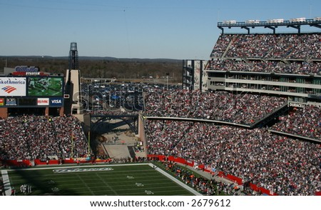 Patriots Fans at Gillette Stadium - stock photo