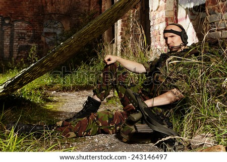Patrolling soldier - stock photo