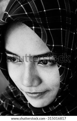 PATTALUNG, THAILAND - AUGUST 30 : face of Unidentified muslim girl student in Thailand on August 30, 2015 in August, Pattalung Thailand. - stock photo