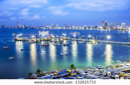 Pattaya beach with a very slow shuter speed photo by use 4 stop ND filter. - stock photo
