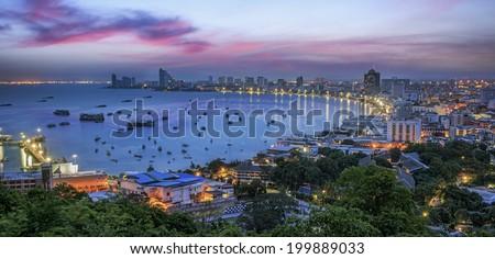 Pattaya City and Sea in Twilight, Thailand - stock photo