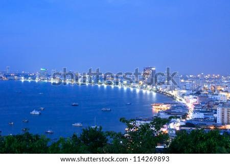 Pattaya city bird eye view - stock photo