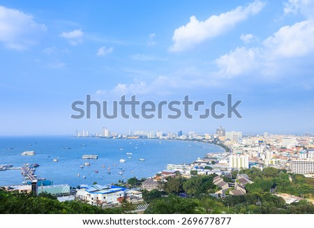 Pattaya city harbor, Chonburi, Thailand - stock photo