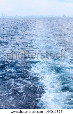 Pattaya city,Thailand ,view behind the speed boat - stock photo