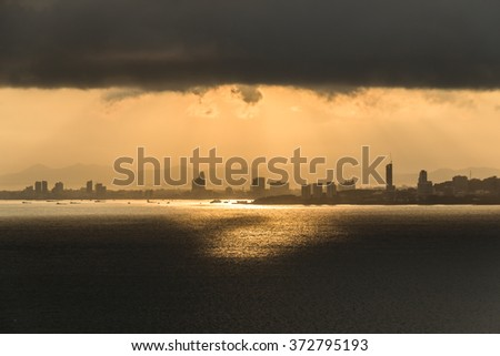 Pattaya city view on the cloudy morning. - stock photo