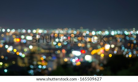 Pattaya cityscape at twilight time, Blurred Photo bokeh - stock photo