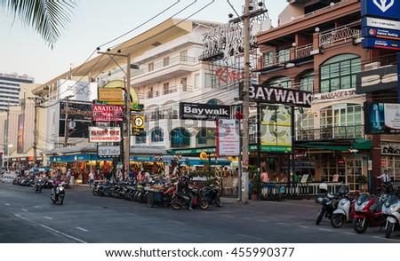 PATTAYA, THAILAND - APRIL 4, 2015: Famous Walring street evening view - stock photo