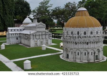 PATTAYA, THAILAND - AUG 7: Mini Siam in Pattaya, Thailand, as seen on Aug 7, 2012. It is a miniature model village which celebrates the heritages of Thailand and has mini monuments from Europe. - stock photo