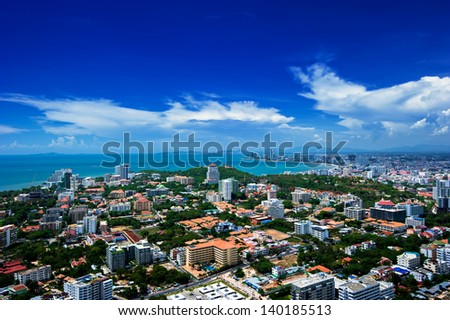 Pattaya Thailand, cityscape with blue sky - stock photo