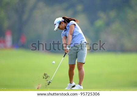 PATTAYA,THAILAND-FEBRUARY16:Ai Miyazato of japan hits a shot during the first round of Honda LPGA Thailand on February16 2012 at Siam Country Club Old Course in Pattaya, Thailand - stock photo
