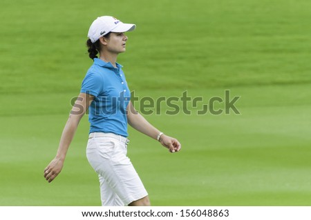 PATTAYA THAILAND-FEBRUARY 21-Lorena Ochoa of Mexico walks in fairway in Final Round of Honda LPGA Thailand 2010 on Feb 21, 2010 at Siam Country Club Old Course in Pattaya, Thailand - stock photo