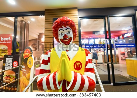 PATTAYA, THAILAND - FEBRUARY 18, 2016: Ronald McDonald character near McDonald's restaurant. Ronald McDonald is a clown character used as the primary mascot of the McDonald's restaurant chain. - stock photo
