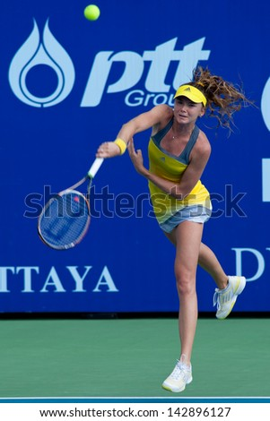 PATTAYA THAILAND - JANUARY 31: Daniela Hantuchova of Slovakia serves during 1st round of PTT Pattaya Open 2013 on January 31, 2013 at Dusit Thani Hotel in Pattaya, Thailand - stock photo