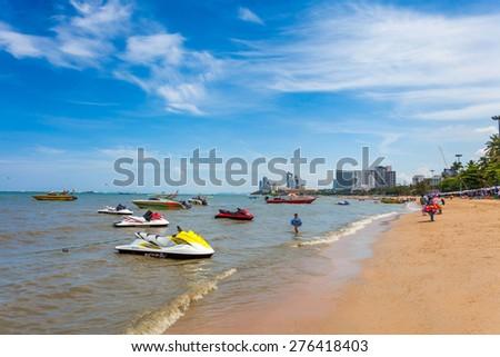 PATTAYA, THAILAND - MAY 2 : Speedboat wait for tourists to take a tour of Pattaya Bay during the holiday season on May 2, 2015 near the Lambaleehai harbor, Pattaya, Thailand - stock photo