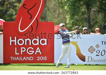 PATTAYA, THAILAND: Na Yeon Choi of South Koreaplays a shot during day one of the Honda LPGA Thailand 2015 at Siam Country Club, Pattaya on Feb 26,2015 in Thailand. - stock photo