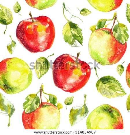Pattern apples painted with watercolors on white paper. Red apple, green apple, leaf, half an apple - stock photo